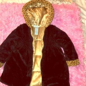Black leopard Faux Fur Girls coat